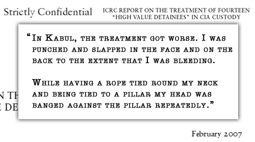 """In Kabul, the treatment got worse. I was punched and slapped in the face and on the back to the extent that I was bleeding. While having a rope tied round my neck and being tied to a pillar my head was banged against the pillar repeatedly."""