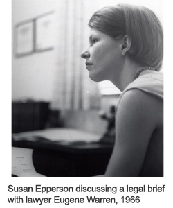 Susan Epperson discussing a legal brief with lawyer Eugene Warren, 1966