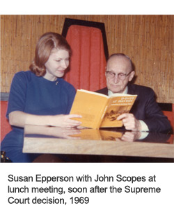 Susan Epperson with John Scopes at January 1969 lunch meeting, a couple of months after the Supreme Court decision
