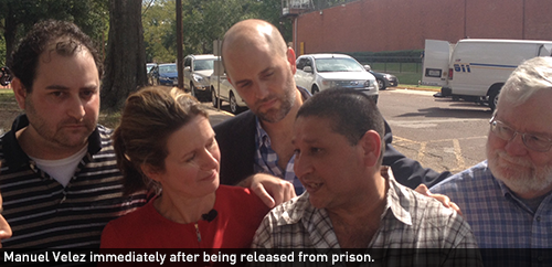 Manuel Velez immediately after being released from prison.