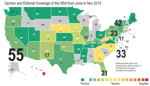 Opinion and Editorial Coverage of the NSA from June to November 2013