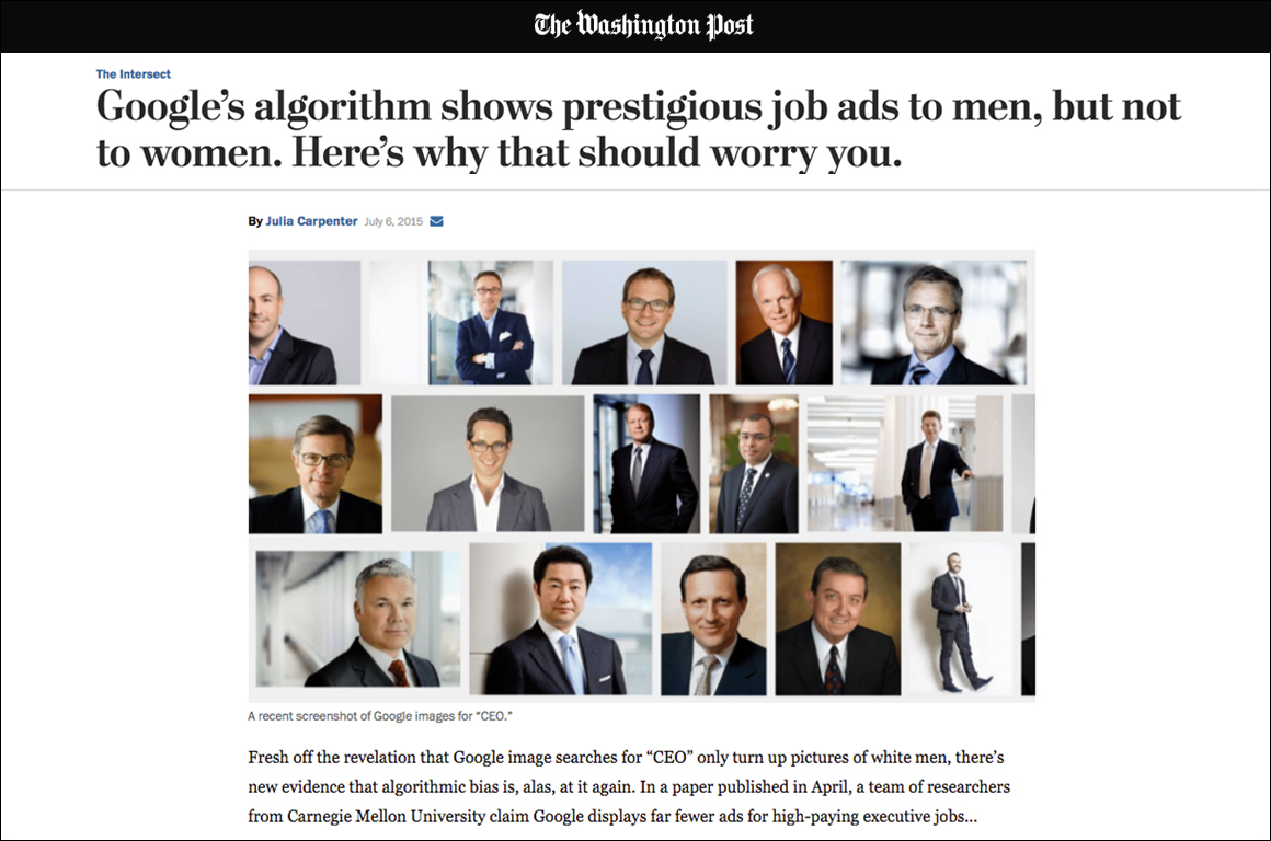 Screenshot of a Washington Post article titled 'Google's algorithm shows prestigious job ads to men, but not women. Here's why that should worry you.'
