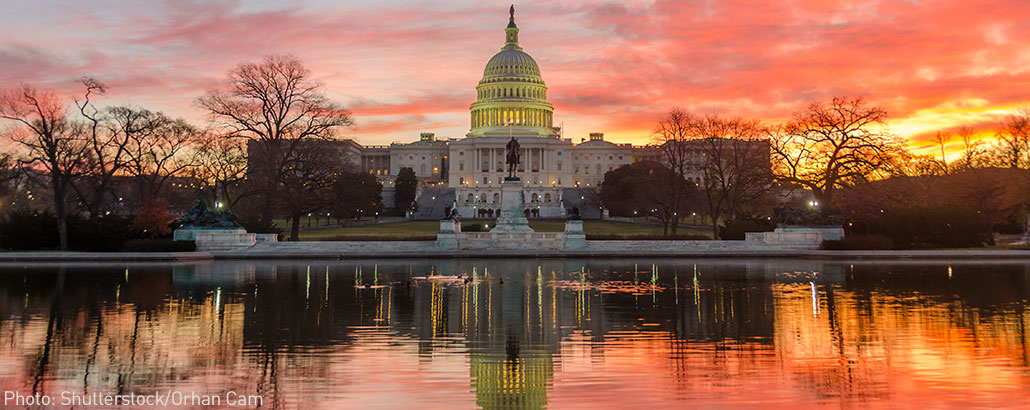 Sunrise over the Capitol building