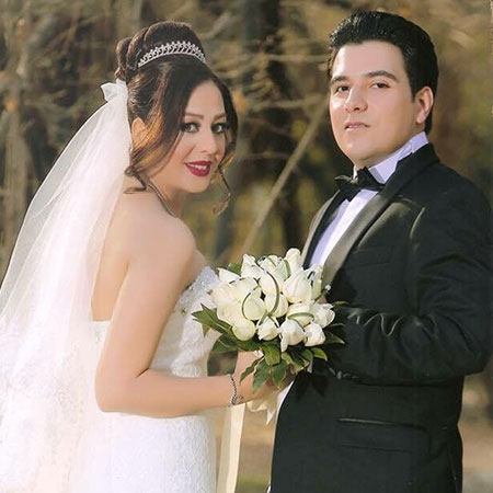 Wedding photo of Maryam and her husband.