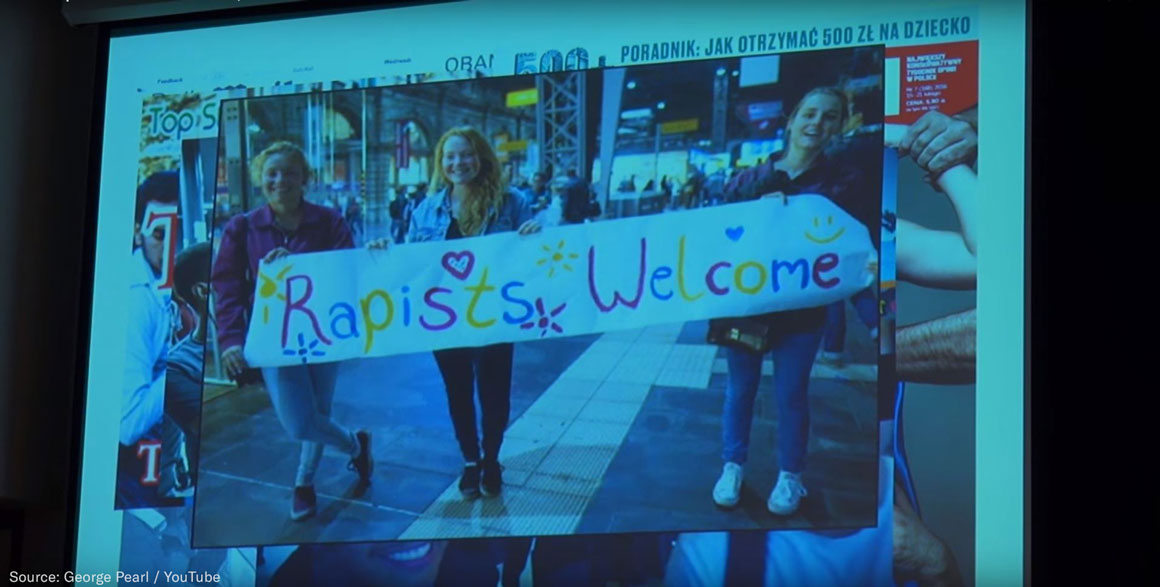 Rapists Welcome slide in David Bores' Presentation