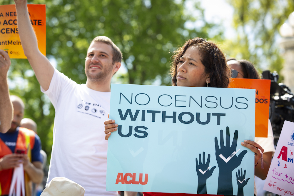 Activists protesting for fair census question