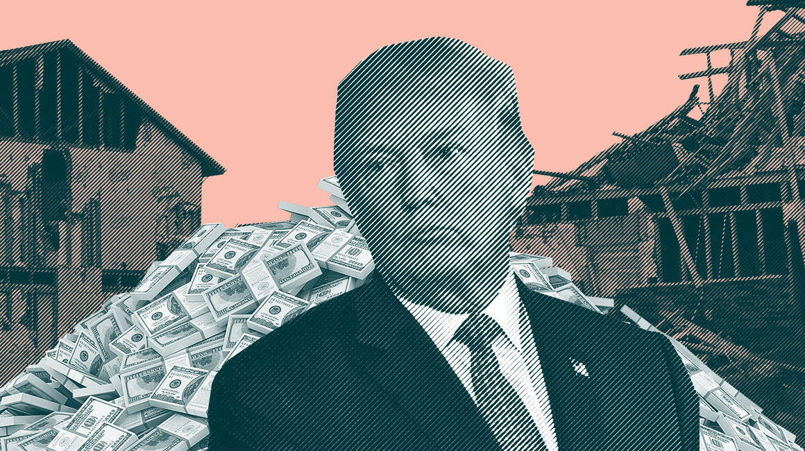 Trump  in front of a pile of money and destroyed buildings