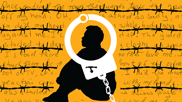 Person sitting on yellow background with barbed wire and handcuff over their head