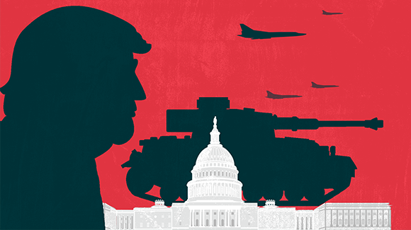 Trump's head next to tanks and fighter jets looming over the capitol building.