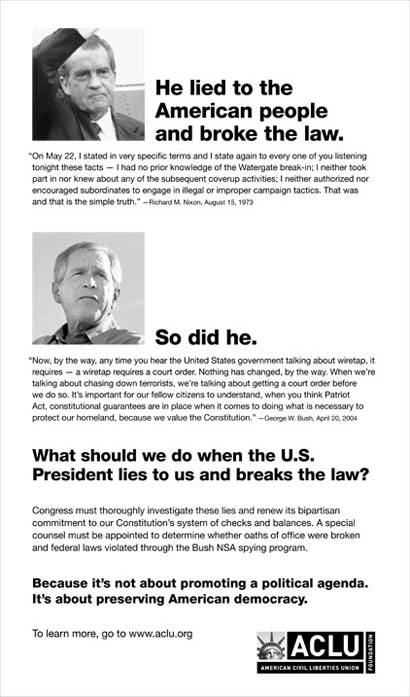 ACLU Hate Bush Ad published in NY Times 12/29/2005