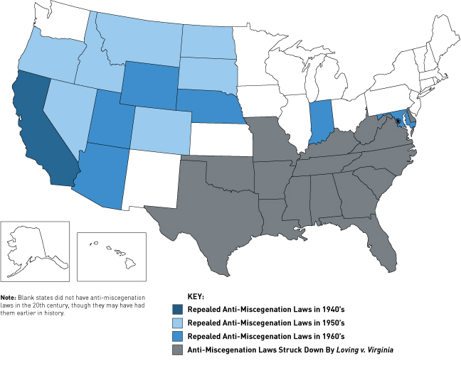 History of repeal of the ban on interracial marriage : MapPorn