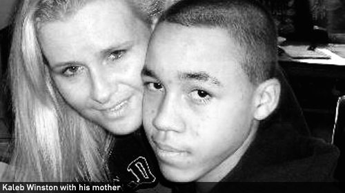 Kaleb and his mother