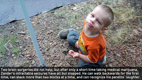 Two brain surgeries did not help, but after only a short time taking medical marijuana, Zander's intractable seizures have all but stopped. He can walk backwards for the first time, can stack more than two blocks at a time, and can recognize his parents' laughter.