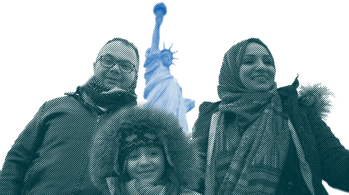 People of all backgrounds standing in front of the Statue of Liberty