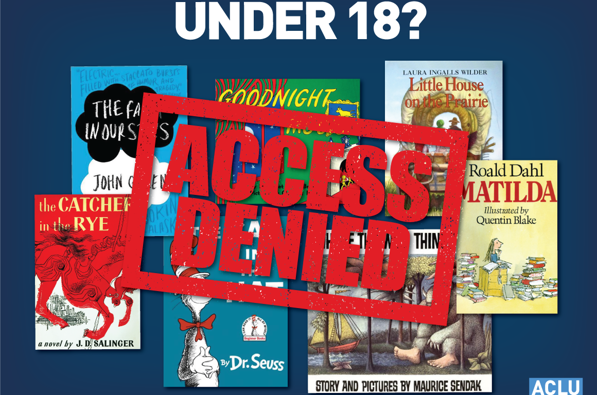 "Assorted children's books with ""Access Denied"" stamp"
