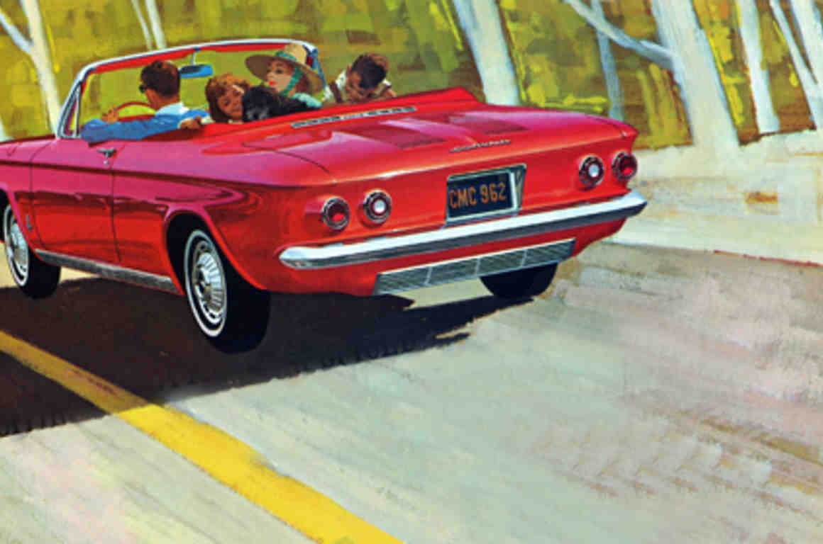 Painting of family riding in 1962 Chevrolet Corvair Monza