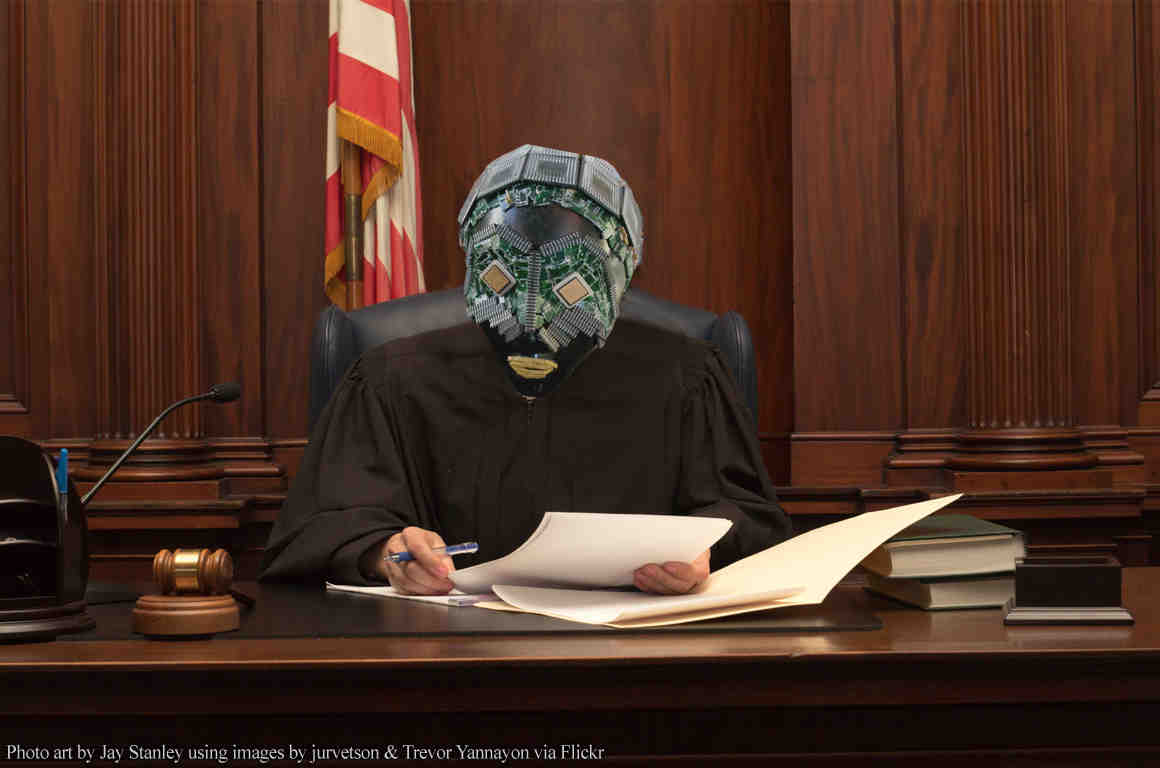 Judge with computerized face