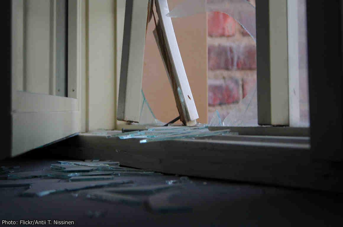 Closup of broken door