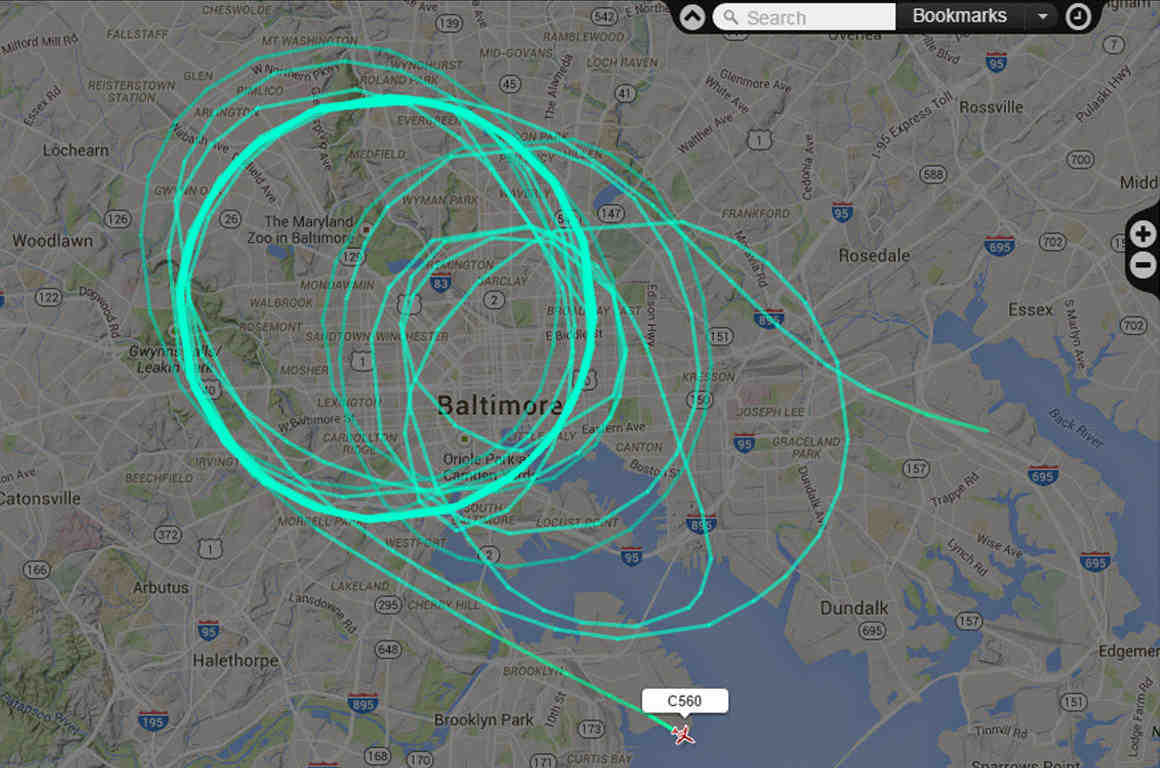 Flight path over Baltimore -- screen capture from Flightradar24.com by Pete Cimbolic