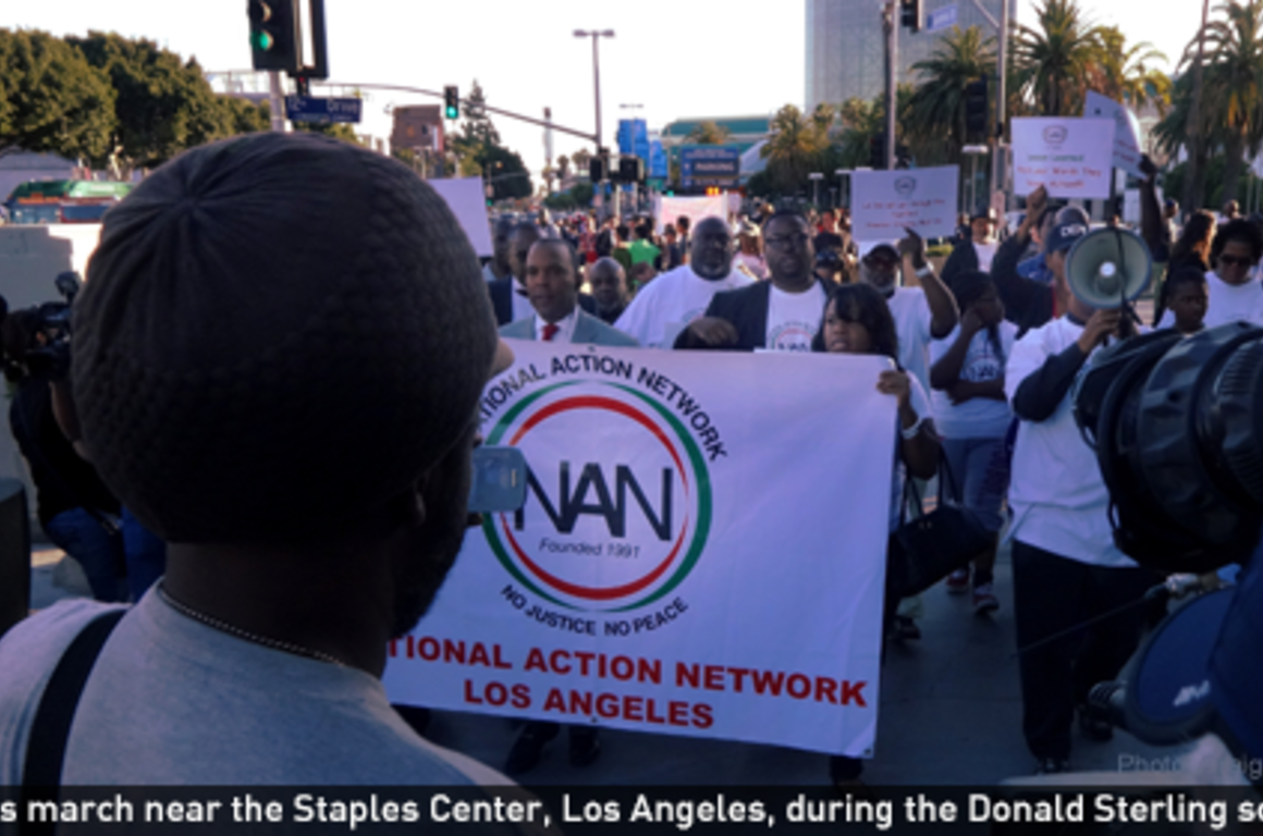Groups march near the Staples Center, Los Angeles, to protest Donald Sterling.