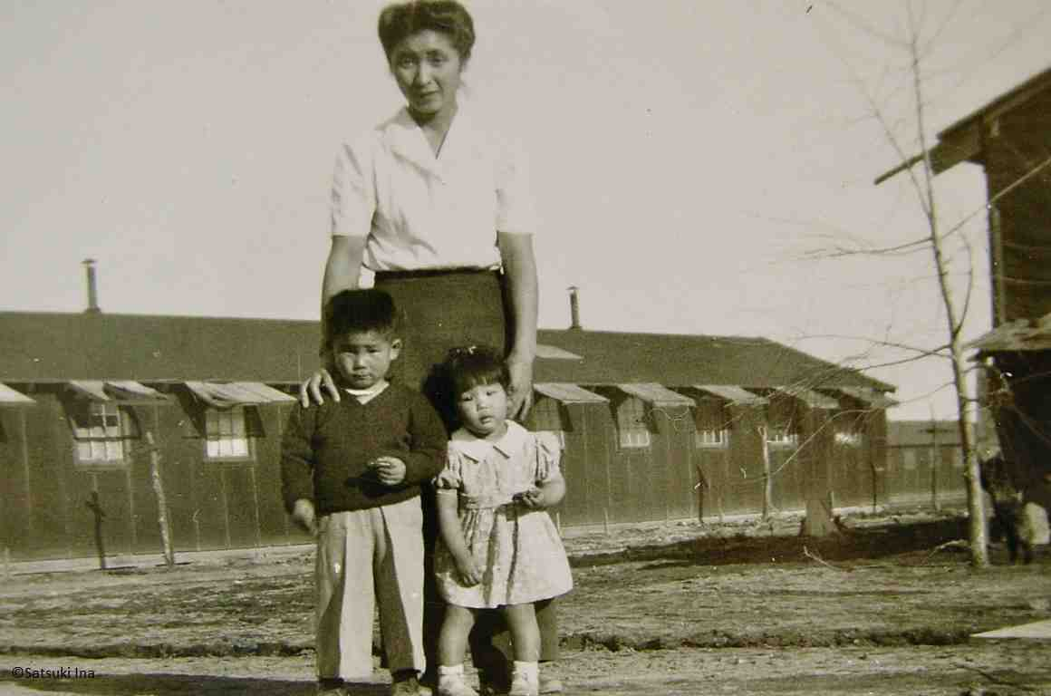 Satsuki Ina as a toddler with her mother and brother.