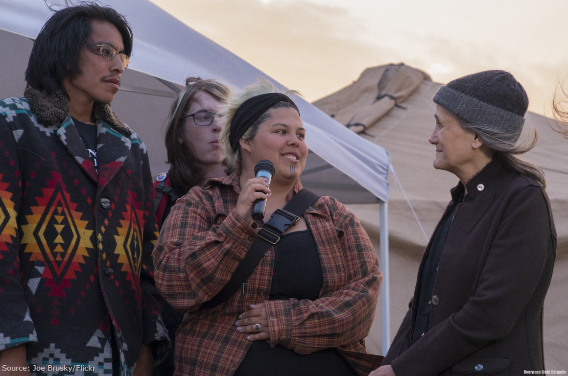 Amy Goodman at the Sacred Stone Camp in 2014