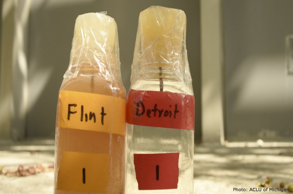 Samples of Flint and Detroit water side by side