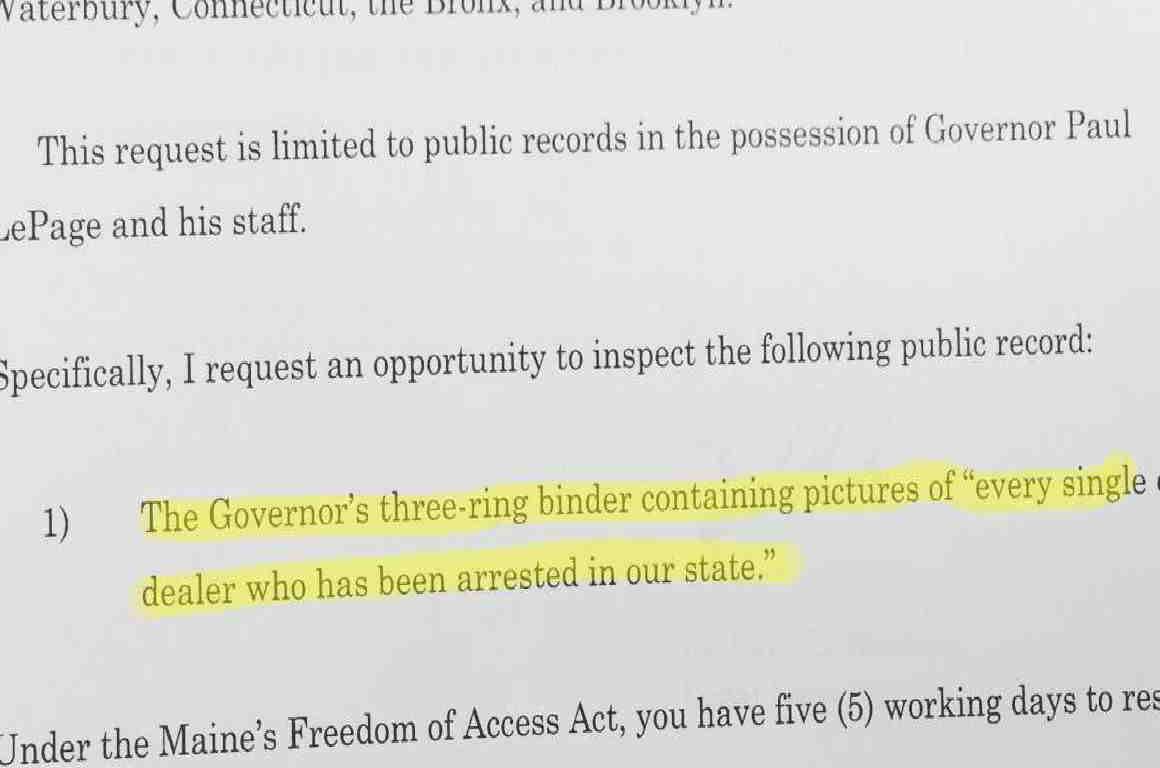 Maine public records request for Gov. LePage's binder full of alleged drug dealers