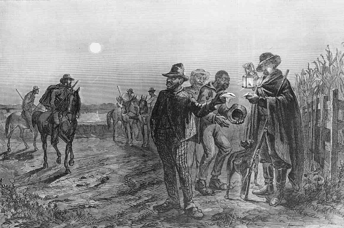 Illustration showing a guard with a lantern checking the passes of African-American men traveling on a levee road at night.