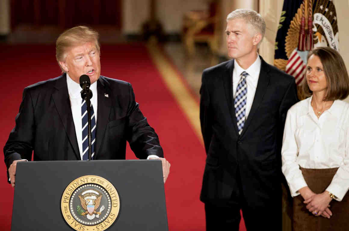 President Donald Trump with Supreme Court nominee Neil Gorsuch at the White House.