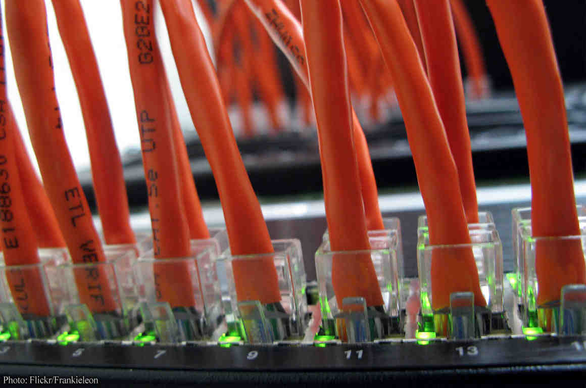 Orange internet cables