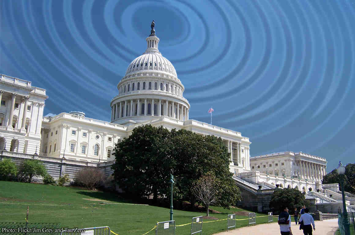 Photo of US Capitol with radio waves in sky