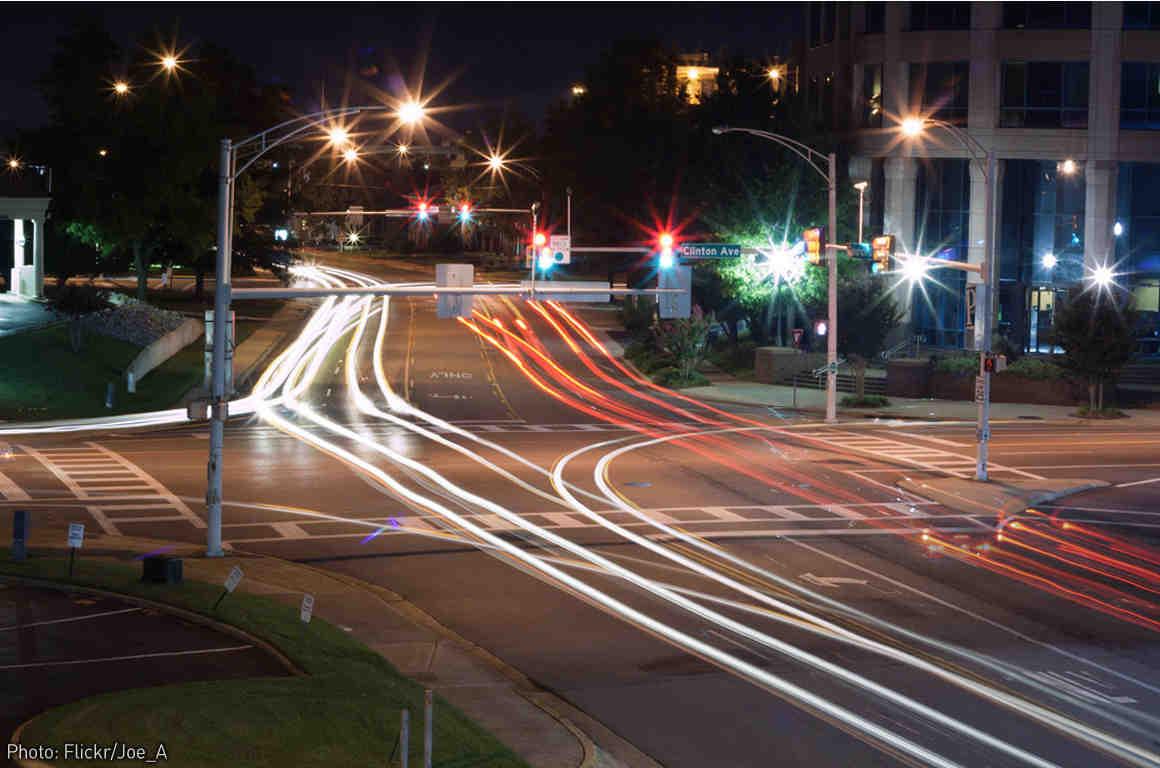 Photo of car lights at night