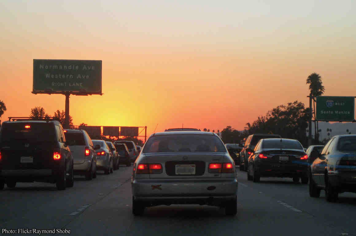 Photo of cars on LA freeway at dusk