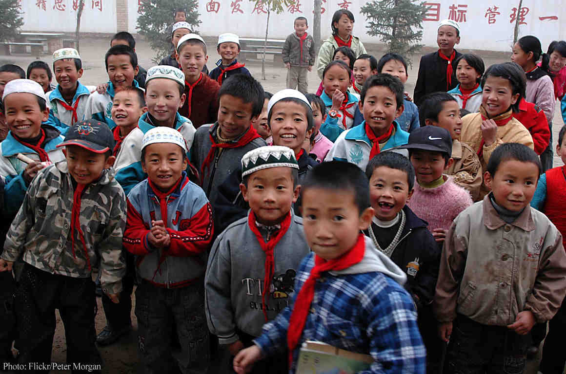 Chinese kids looking at camera