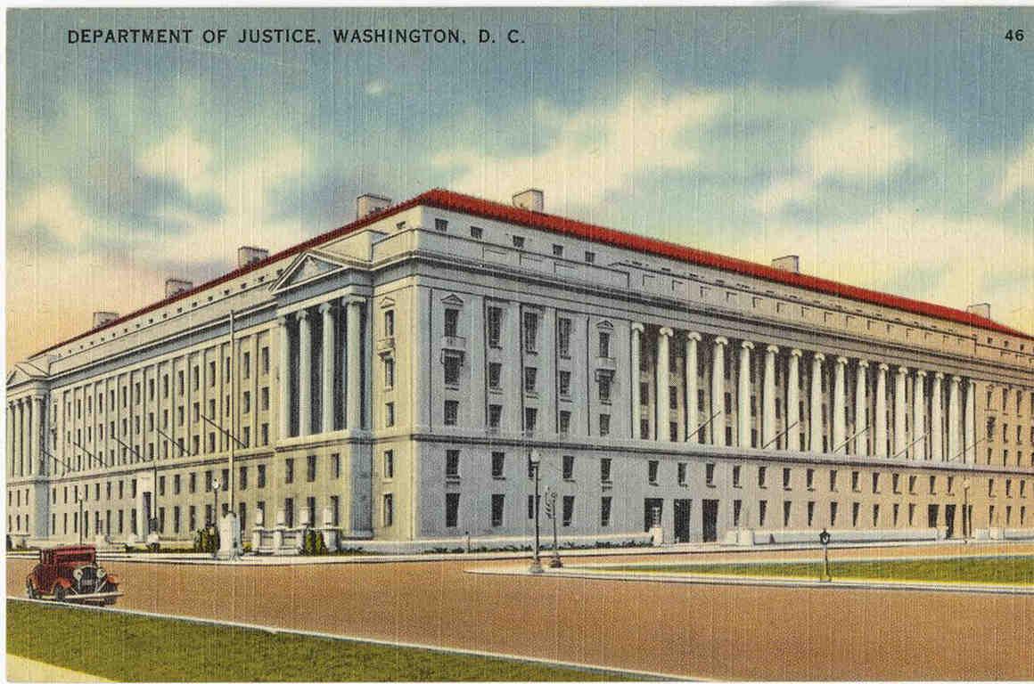 Vintage postcard of DOJ building