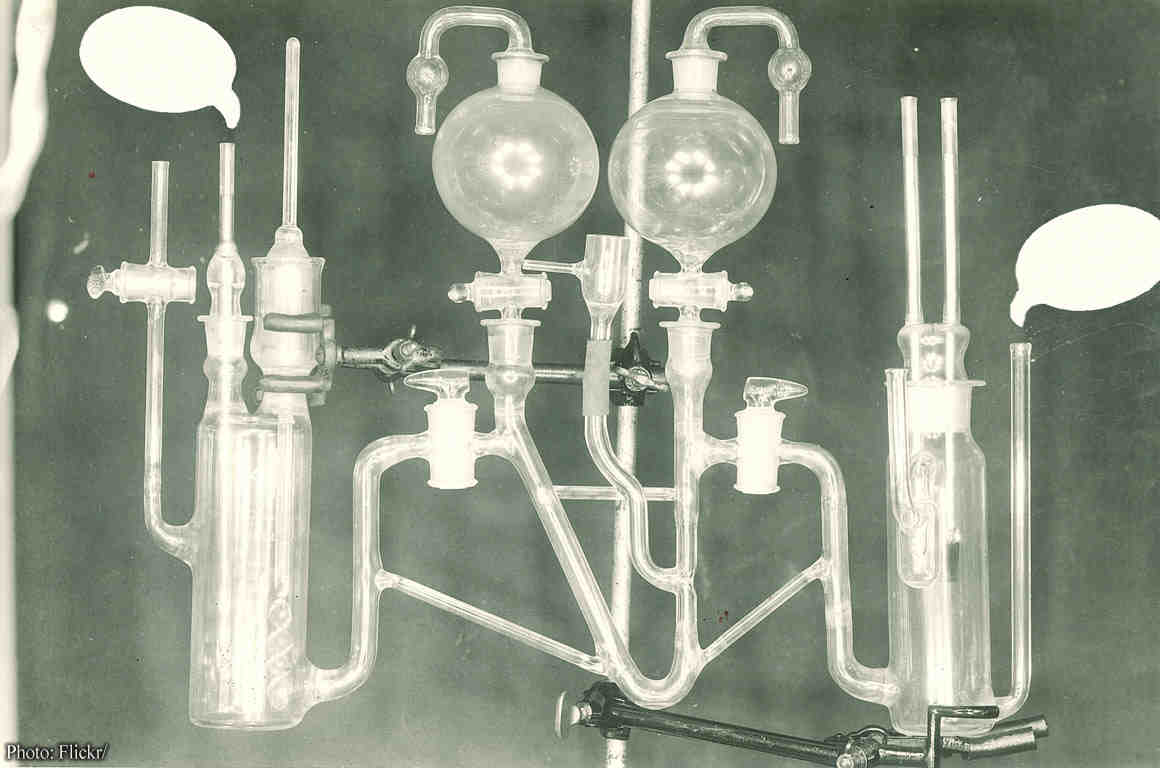 Electrode apparatus with cartoon speech bubbles coming out of tubes