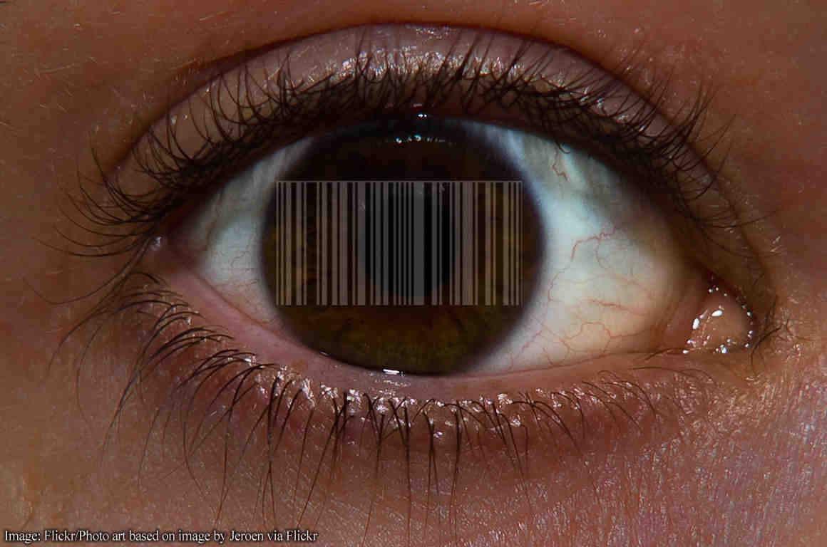 Eye with barcode in it