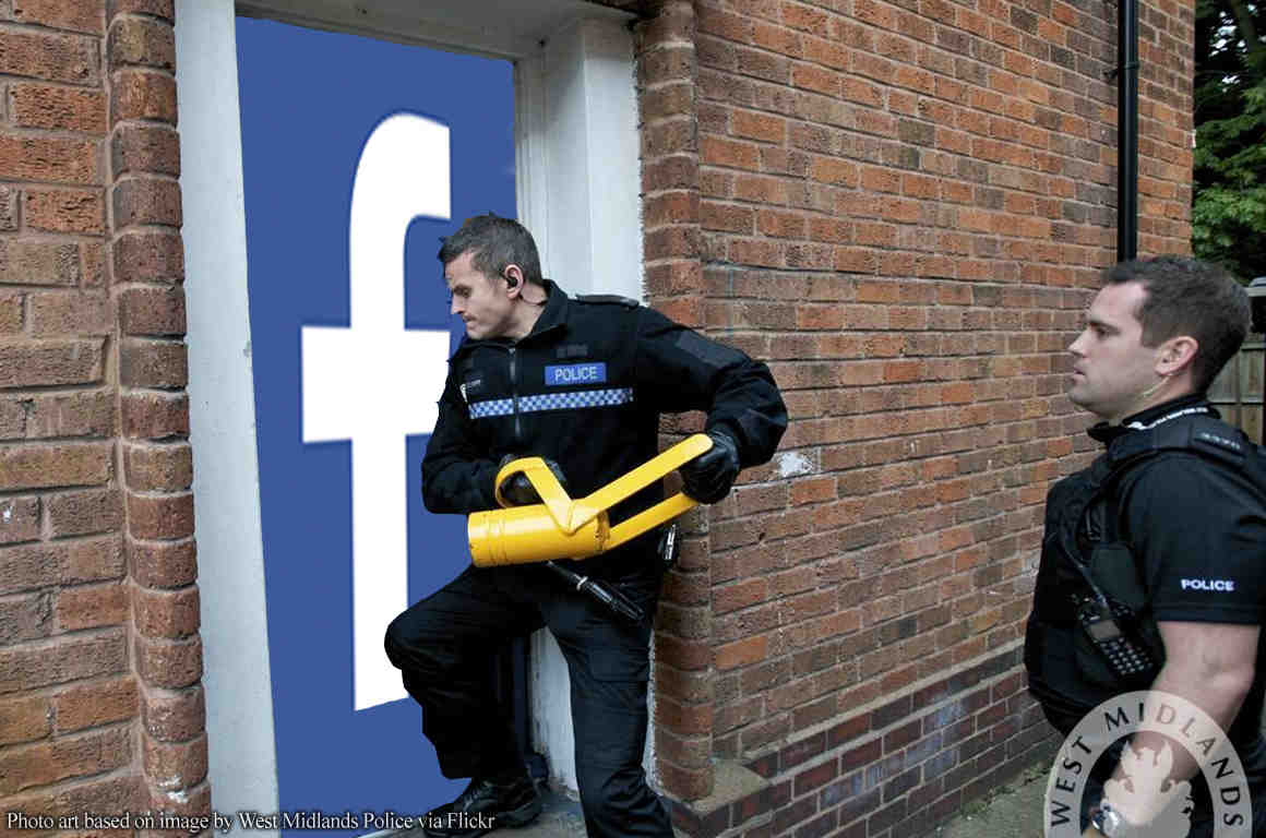 Police battering in a door with Facebook logo