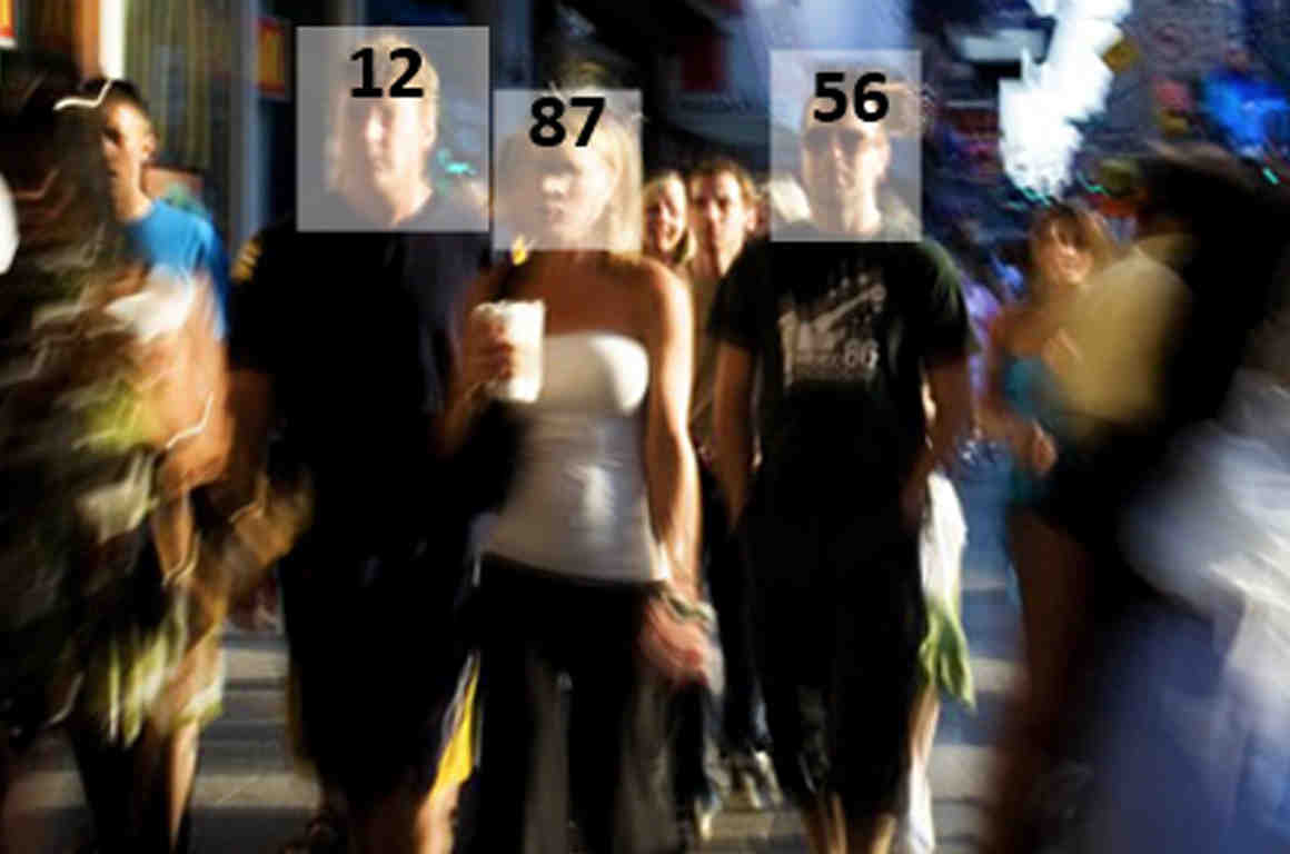 People walking on sidewalk with scores superimposed on their faces