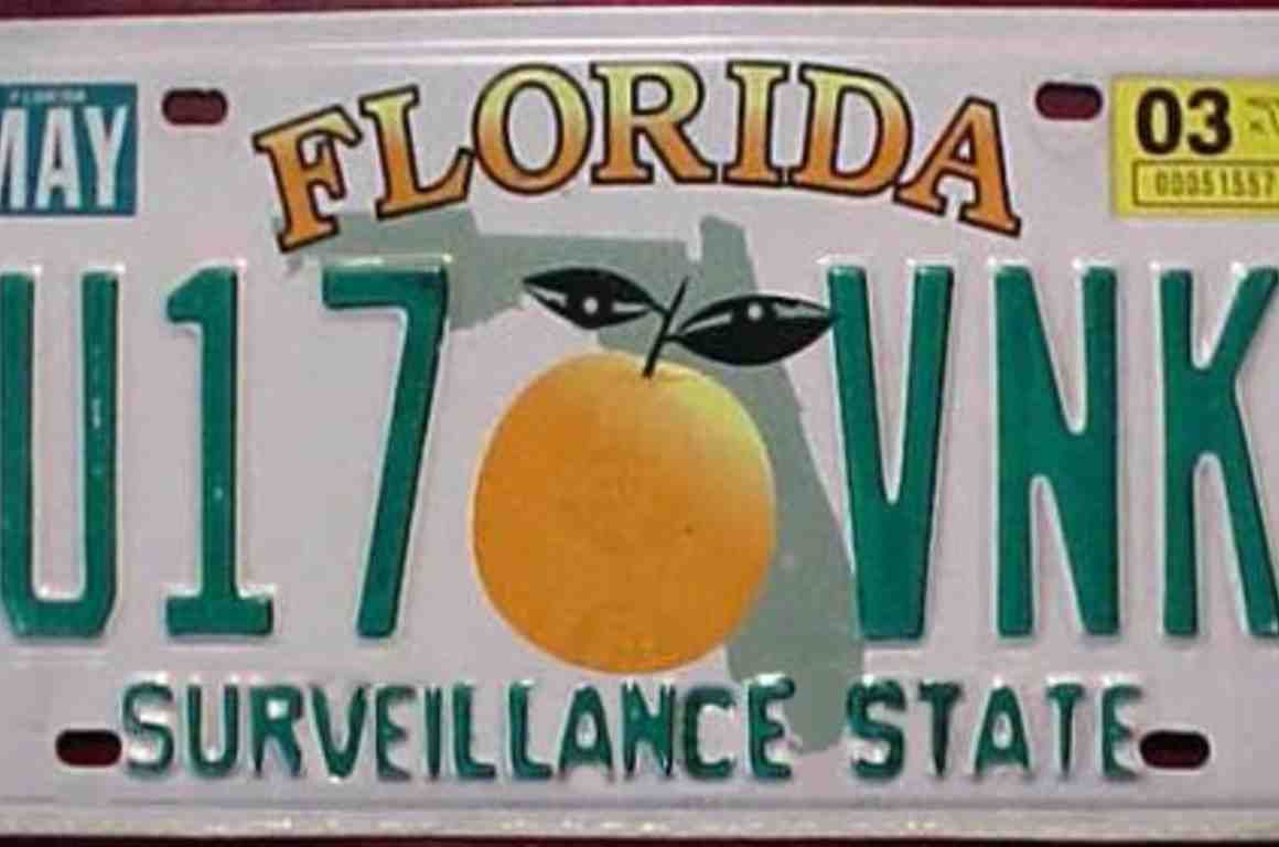 "Florida ""Surveillance State"" license plate"