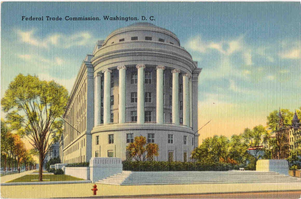 Vintage postcard of FTC building