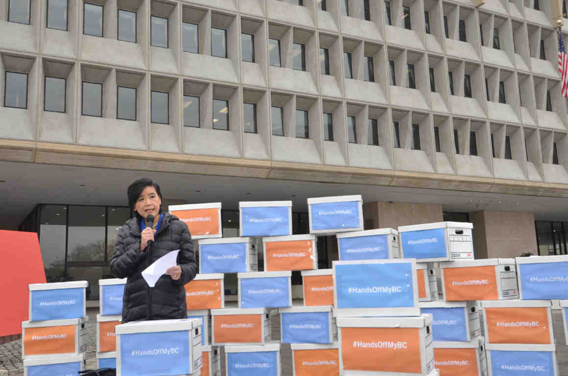 Rep Judy Chu (D-Calif.) speaks at the petition delivery
