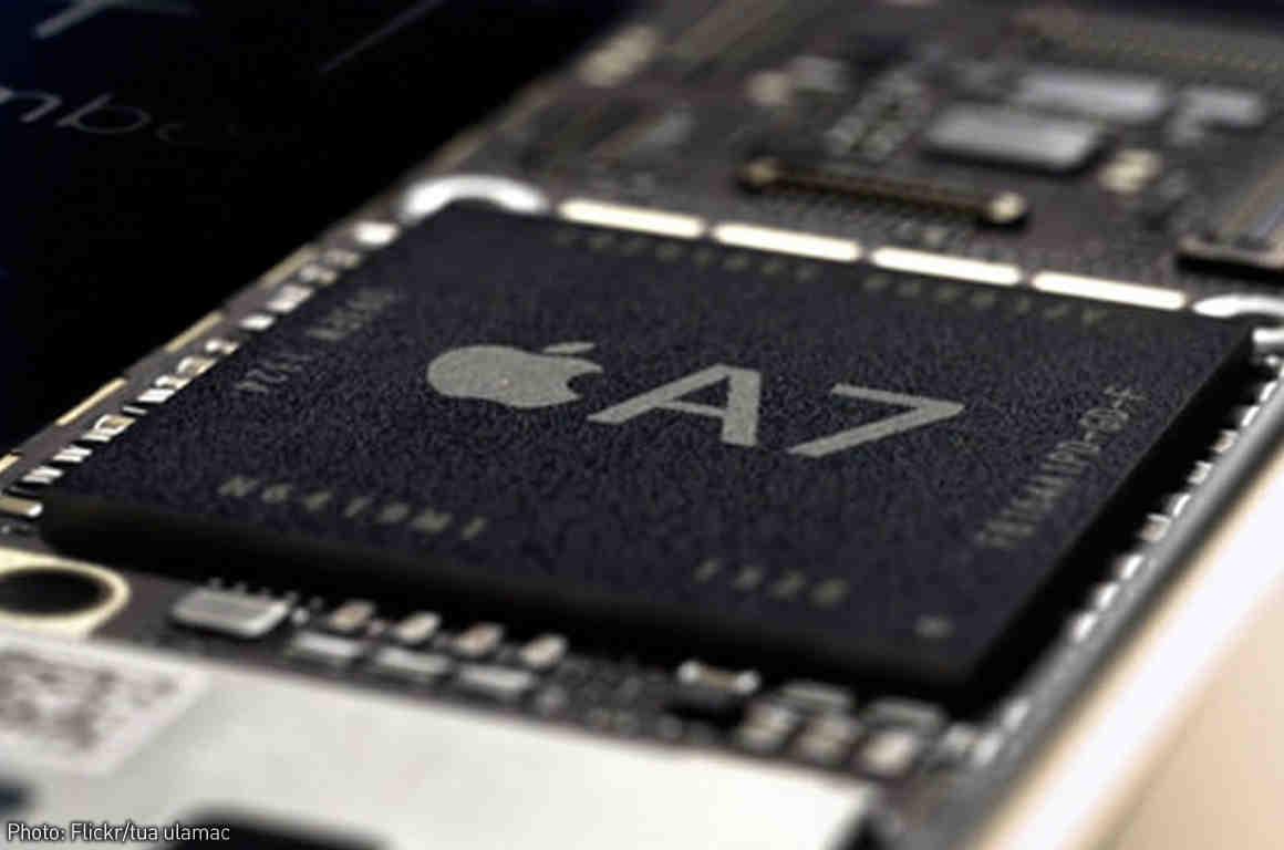 Closeup of an Apple iPhone chip