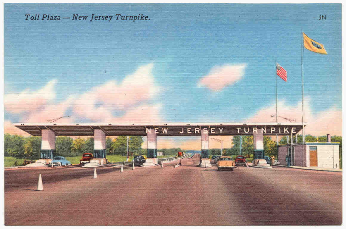 Classic postcard of New Jersey Turnpike toll plaza