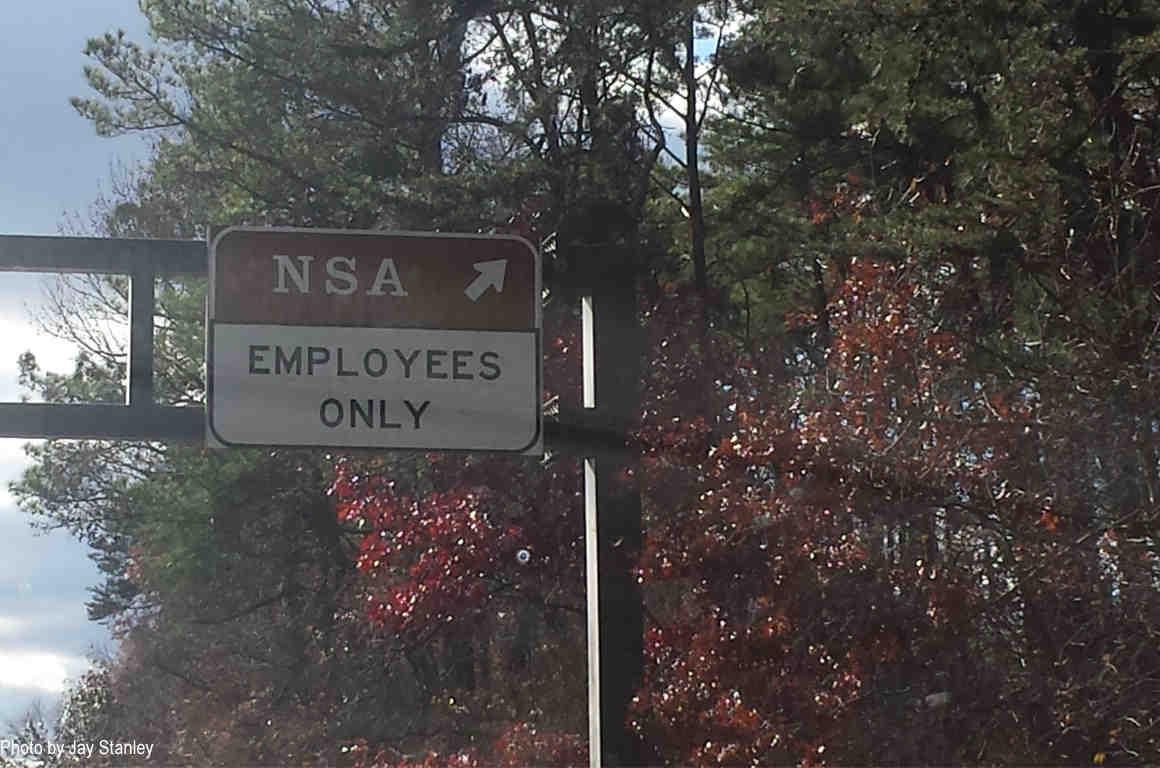 """Sign at entrance to NSA building: """"Employees Only"""""""