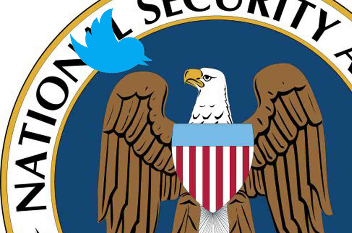 Eagle on NSA logo and Twitter logo bird looking at each other