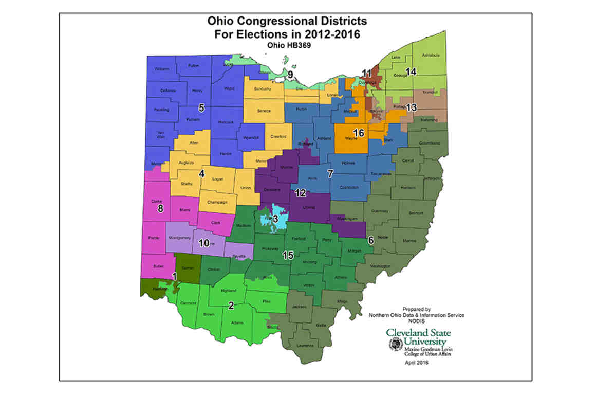 Map of Ohio congressional districts, 2012-2016