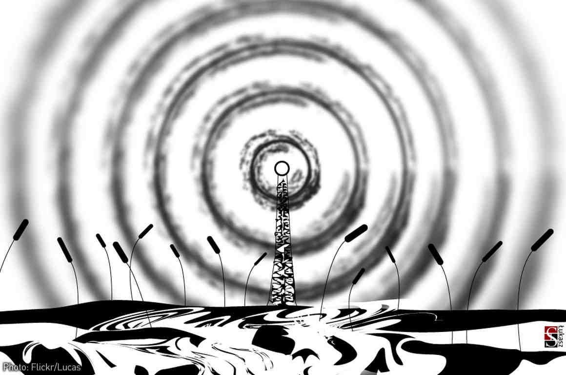 Radio tower with radio waves