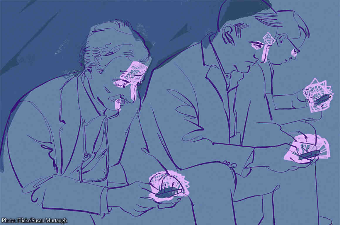 Drawing of three men looking at their phones
